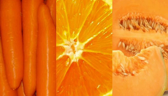 Arancione: carote, arance, melone