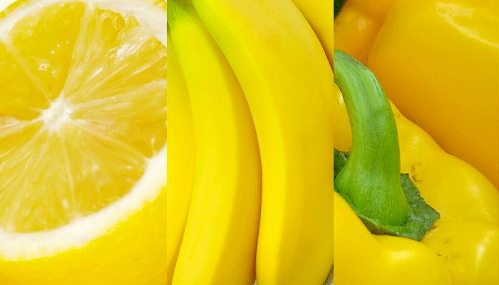 Giallo:limone,banana, peperone
